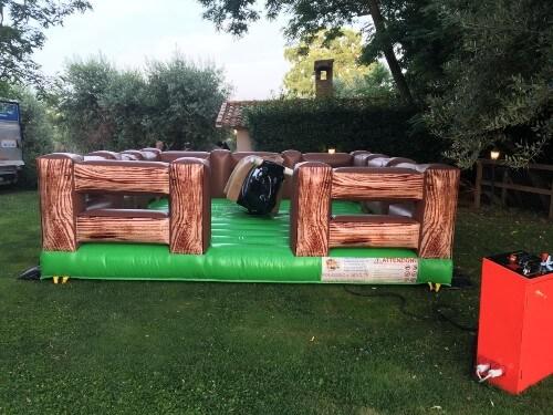 Toro meccanico situato nel giardino di un'abitazione per festa privata